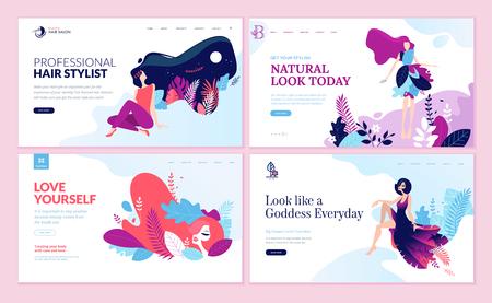 Ensemble de modèles de conception de pages Web pour la beauté, le spa, le bien-être, les produits naturels, les cosmétiques, les soins du corps, la vie saine. Concepts d'illustration vectorielle modernes pour le développement de sites Web et de sites Web mobiles.