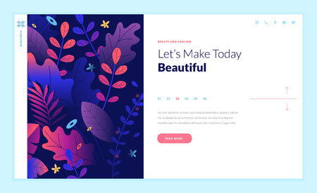 Web page design template for beauty, spa, wellness, natural products, cosmetics, body care, healthy life. Modern flat design vector illustration concept for website and mobile website development.  イラスト・ベクター素材