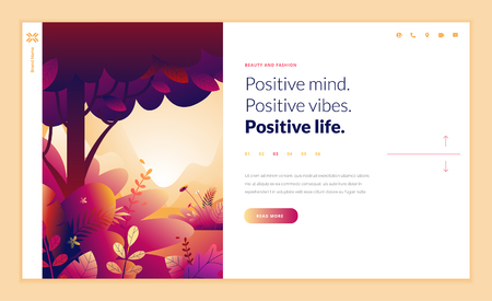 Web page design template for beauty, spa, wellness, natural products, cosmetics, body care, healthy life. Modern flat design vector illustration concept for website and mobile website development. Ilustracja