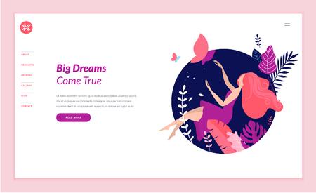 Modèle de conception de page Web pour la beauté, le spa, le bien-être, les produits naturels, les cosmétiques, les soins du corps, une vie saine. Concept d'illustration vectorielle design plat moderne pour le développement de sites Web et de sites Web mobiles.