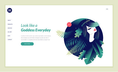 Web page design template for beauty, spa, wellness, natural products, cosmetics, body care, healthy life. Modern flat design vector illustration concept for website and mobile website development. Stock Illustratie