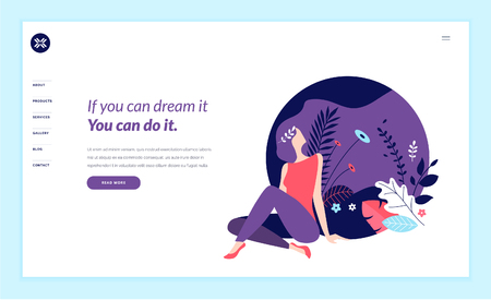 Web page design template for beauty, spa, wellness, natural products, cosmetics, body care, healthy life. Modern flat design vector illustration concept for website and mobile website development. Ilustracje wektorowe