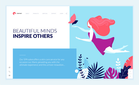 Web page design template for beauty, spa, wellness, natural products, cosmetics, body care, healthy life. Modern flat design vector illustration concept for website and mobile website development. Archivio Fotografico - 106902915