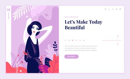 Web page design template for beauty, spa, wellness, natural products, cosmetics, body care, healthy life. Modern flat design vector illustration concept for website and mobile website development. 스톡 콘텐츠 - 106902914
