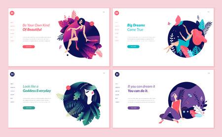 Set di modelli di progettazione di pagine web per bellezza, spa, benessere, prodotti naturali, cosmetici, cura del corpo e vita sana. Concetti di illustrazione vettoriale moderni per lo sviluppo di siti Web e siti Web mobili.