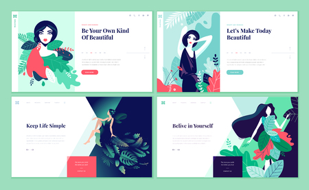 Set of web page design templates for beauty, spa, wellness, natural products, cosmetics, body care, healthy life. Modern vector illustration concepts for website and mobile website development. Vettoriali