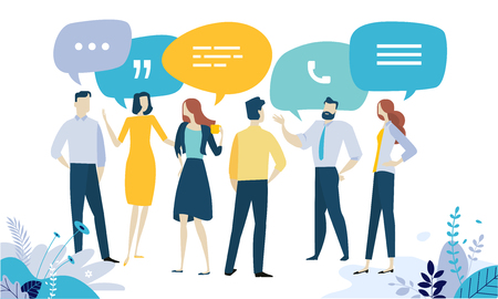 Vector illustration concept of testimonial, social media, networking, business communication, forum, product review. Creative flat design for web banner, marketing material, business presentation, online advertising.