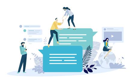 Vektorillustrationskonzept der Online-Kommunikation, der sozialen Medien, der Vernetzung, der Gemeinschaftsgruppe. Kreatives flaches Design für Web-Banner, Marketingmaterial, Geschäftspräsentation, Online-Werbung.