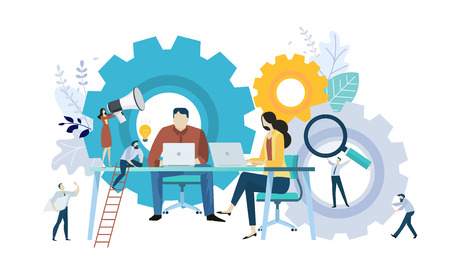 Vector illustration concept of teamwork, project management, workflow, business mechanism, research and development. Creative flat design for web banner, marketing material, business presentation, online advertising.