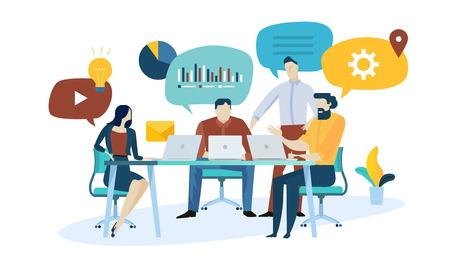 Concepto de ilustración vectorial de investigación de mercado, seo, análisis empresarial, estrategia, marketing digital, trabajo en equipo. Diseño plano creativo para banner web, material de marketing, presentación empresarial, publicidad online.