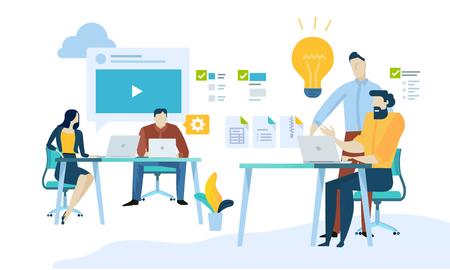 Vector illustration concept of content management, web development, seo, social network, teamwork, cmr. Creative flat design for web banner, marketing material, business presentation, online advertising.