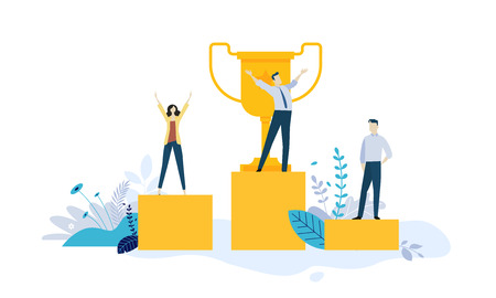 Vector illustration concept of business success, leadership, awards, career, successful projects, goal, winning plan, competition. Creative flat design for web banner, marketing material, business presentation, online advertising. Ilustração