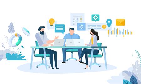 비즈니스 워크 플로, 시간 관리, 계획, 작업 앱, 팀워크, 회의의 벡터 일러스트 레이 션 개념입니다. 웹 배너, 마케팅 자료, 비즈니스 프레젠테이션, 온라인 광고를위한 창의적인 평면 디자인. 벡터 (일러스트)