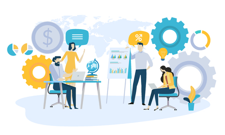 Vector illustration concept of global investment, market trends, economic analysis, startups. Creative flat design for web banner, marketing material, business presentation, online advertising. Illustration