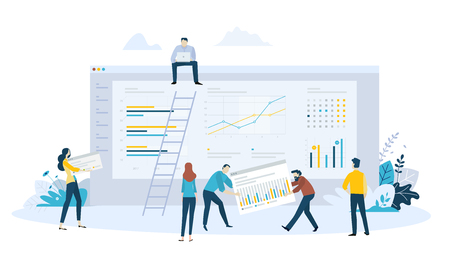 Vector illustration concept of business management software, statistics, trends and productivity, app development, data analysis. Creative flat design for web banner, marketing material, business presentation, online advertising.