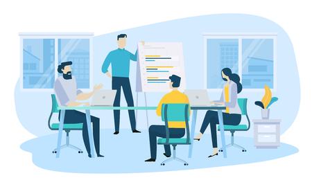 Concept d'illustration vectorielle de réunion d'affaires, travail d'équipe, formation, amélioration des compétences professionnelles. Design plat créatif pour bannière Web, matériel de marketing, présentation d'entreprise, publicité en ligne.