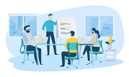 Vector illustration concept of business meeting, teamwork, training, improving professional skill. Creative flat design for web banner, marketing material, business presentation, online advertising.