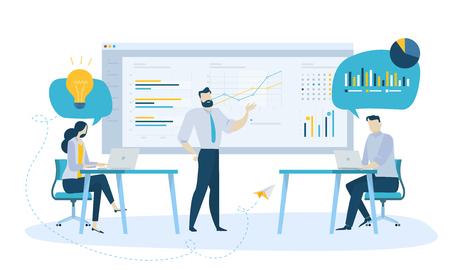 Vector illustration concept of team management . Creative flat design for web banner, marketing material, business presentation, online advertising. Illustration