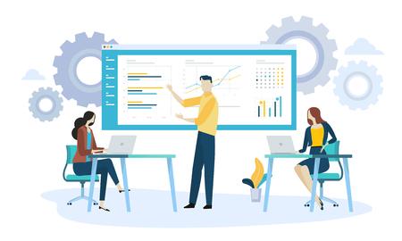 Vector illustration concept of product development. Creative flat design for web banner, marketing material, business presentation, online advertising.