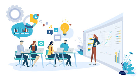 Vector illustration concept of brainstorming, research and development department. Creative flat design for web banner, marketing material, business presentation, online advertising. Illustration