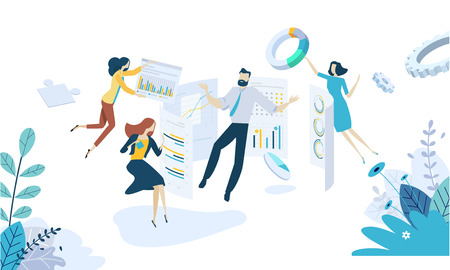 Vector illustration concept of data analysis. Creative flat design for web banner, marketing material, business presentation, online advertising. Illustration