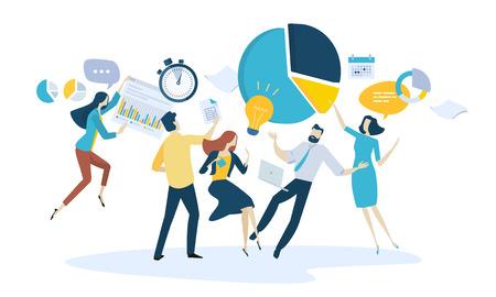 Vector illustratie concept van teamwerk. Creatief plat ontwerp voor webbanner, marketingmateriaal, bedrijfspresentatie, online reclame.