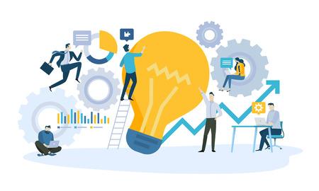 아이디어에서 제품 또는 서비스에 이르기까지 비즈니스 워크 플로우의 벡터 일러스트 레이 션 개념. 웹 배너, 마케팅 자료, 비즈니스 프레젠테이션, 온라인 광고를위한 창의적인 평면 디자인.