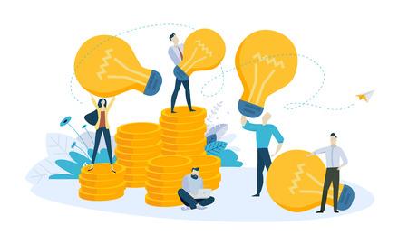 Vector illustration concept of big idea, innovative solutions. Creative flat design for web banner, marketing material, business presentation, online advertising. Vector Illustration