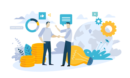 Vector illustration concept of partnership. Creative flat design for web banner, marketing material, business presentation, online advertising. 스톡 콘텐츠 - 106902970