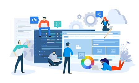 Vector illustration concept of website and app design and development. Creative flat design for web banner, marketing material, business presentation, online advertising. Stock Vector - 106902973