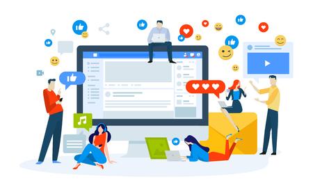 Concetto di illustrazione vettoriale dei social media. Design piatto creativo per banner web, materiale di marketing, presentazione aziendale, pubblicità online. Vettoriali
