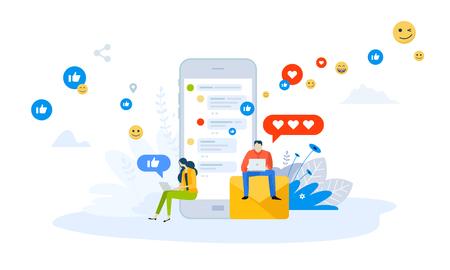 Vector illustration concept of mobile apps and services . Creative flat design for web banner, marketing material, business presentation, online advertising. Illustration