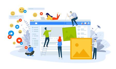 Vector illustration concept of social network. Creative flat design for web banner, marketing material, business presentation, online advertising. Stock Illustratie
