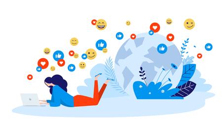 Vector illustration concept of networking, online communication, internet community. Creative flat design for web banner, marketing material, business presentation, online advertising.