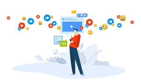 Vector illustration concept of video marketing, streaming. Creative flat design for web banner, marketing material, business presentation, online advertising.
