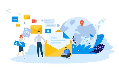Vector illustration concept of email marketing . Creative flat design for web banner, marketing material, business presentation, online advertising. Illustration