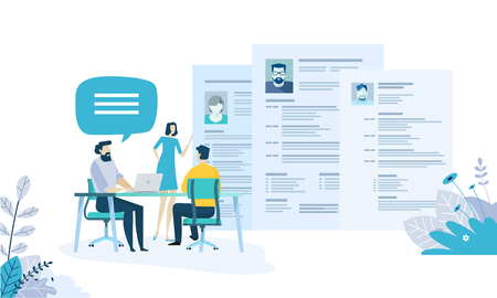 Vector illustration concept of human resources, career, employment, CV, job search, professional skill. Creative flat design for web banner, marketing material, business presentation, online advertising.