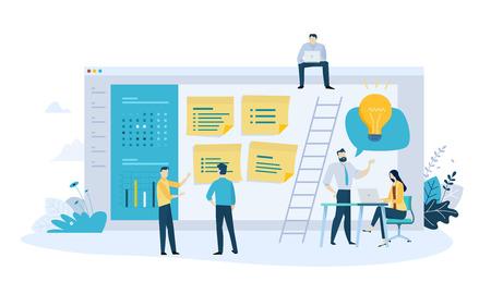 Vector illustration concept of task management, organizer, schedule, to do list, message board. Creative flat design for web banner, marketing material, business presentation, online advertising.