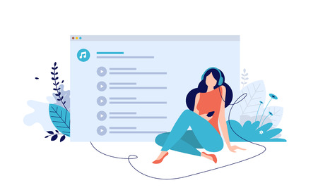 Vector illustration concept of entertainment, music applications, playlist, online songs, radio stations. Creative flat design for web banner, marketing material, business presentation, online advertising. Illustration