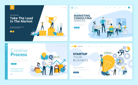 Set of web page design templates for creative process, business success and teamwork, marketing consulting. Modern vector illustration concepts for website and mobile website development. Illustration
