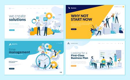 Conjunto de plantillas de diseño de páginas web para soluciones empresariales, puesta en marcha, gestión del tiempo, planificación y estrategia. Conceptos modernos de ilustración vectorial para el desarrollo de sitios web y sitios web móviles.