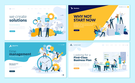 Set of web page design templates for business solutions, startup, time management, planning and strategy. Modern vector illustration concepts for website and mobile website development. Ilustracja