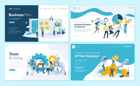 Set di modelli di progettazione di pagine web per business plan, analisi e statistiche, team building, consulenza. Concetti di illustrazione vettoriale moderni per lo sviluppo di siti Web e siti Web mobili.