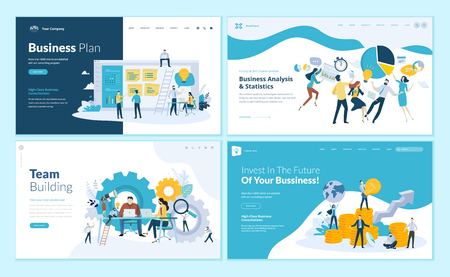 Set of web page design templates for business plan, analysis and statistics, team building, consulting. Modern vector illustration concepts for website and mobile website development. Иллюстрация