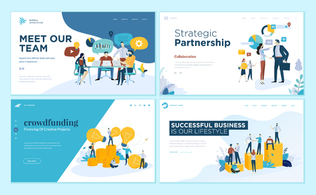 Set of web page design templates for our team, meeting and brainstorming, strategic partnership, crowdfunding, business success. Modern vector illustration concepts for website and mobile website development. Иллюстрация