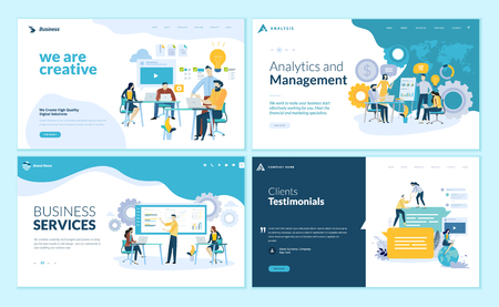 Set of web page design templates for creative and innovative solutions, business services, management and analytics, testimonials. Modern vector illustration concepts for website and mobile website development.