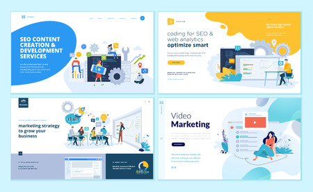 Set of web page design templates for web and mobile apps, SEO, marketing strategy, video marketing . Modern vector illustration concepts for website and mobile website development. Illustration