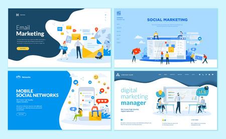 Conjunto de plantillas de diseño de páginas web para redes sociales móviles, soluciones de marketing en Internet. Conceptos modernos de ilustración vectorial para el desarrollo de sitios web y sitios web móviles.