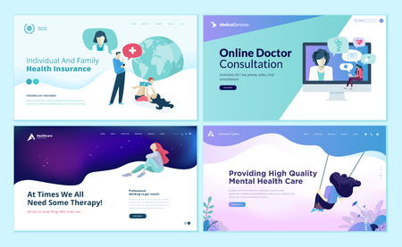 Set of web page design templates for medicine, health insurance, therapy,  online medical services.