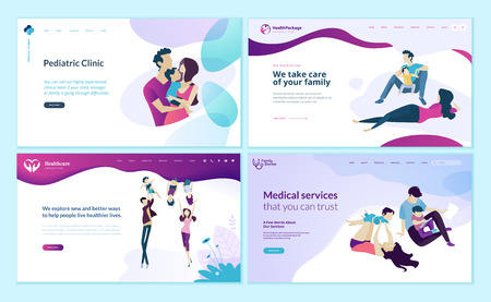 Set of web page design templates for family doctor, pediatric clinic, healthy life.